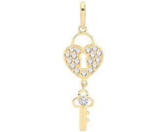 9ct Yellow Gold 3cm Cz Heart Padlock & Key Charm Pendant - Real 9K Gold