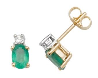 9ct Gold 0.08ct Diamond & Oval Cut 6x4mm Emerald Stud Earrings - Real 9K Gold