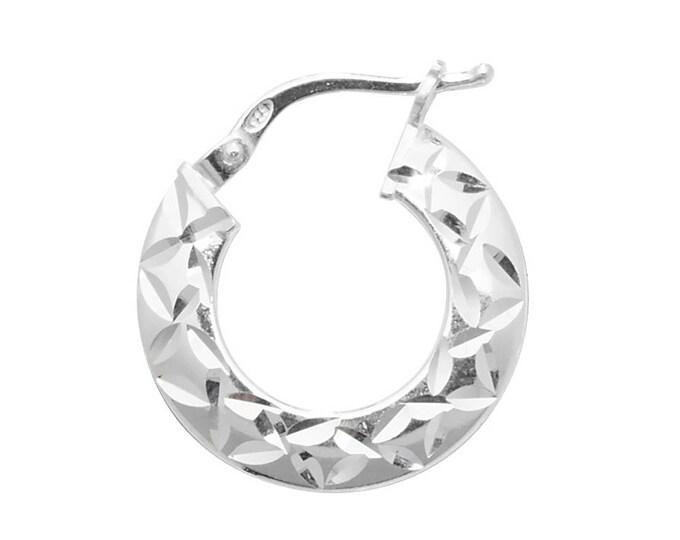 Pair of Sterling Silver Diamond Cut Design Hoop Earrings  - Choice of sizes