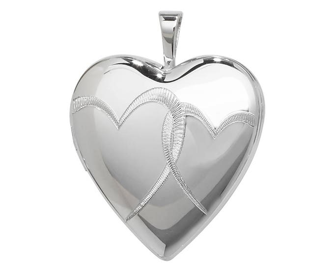 925 Sterling Silver Linked Love Hearts Engraved Heart Shaped 2 Photo Locket 1.8x1.8cm