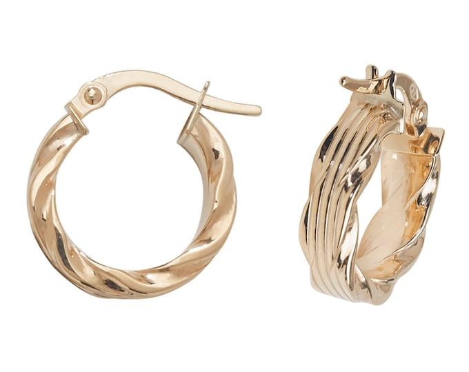 9ct Yellow Gold Ribbed Hoop Earrings With Twisted Scallop Edge