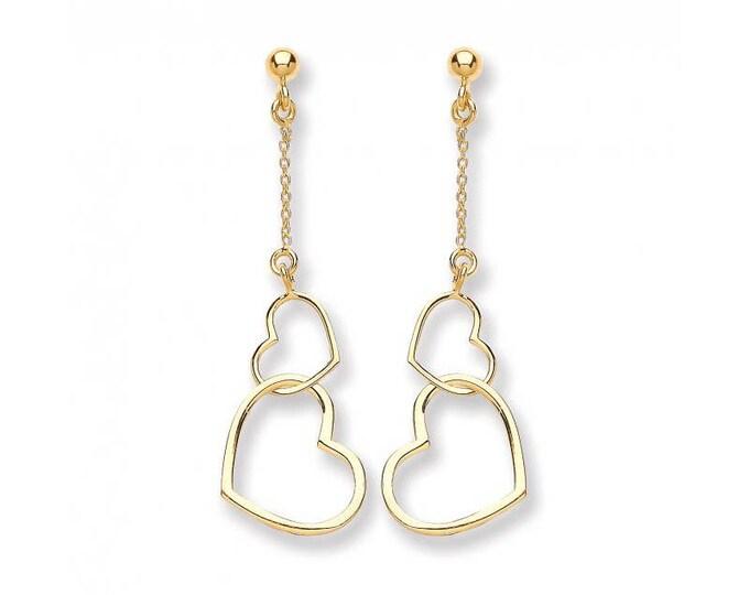 9ct Yellow Gold Double Open Heart Link Drop Earrings