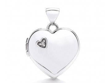9ct White Gold Heart Shaped 2 Photo Locket Set With Single Diamond Hallmarked