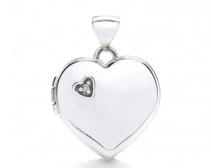 9ct White Gold Heart Shaped 2 Photo Locket Set With Single Diamond Hallmarked