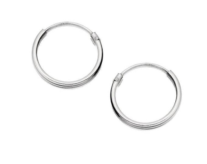 Sterling Silver 12mm Hinged Threader Sleeper Hoop Earrings