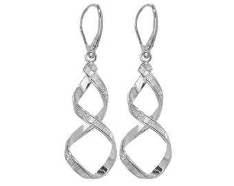 9ct White Gold Stardust Stripe Twisted Spiral Long 45mm Drop Earrings - Real 9K Gold