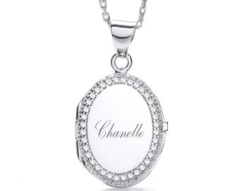 "Personalised Sterling Silver 16""-18"" Micro Pave Cz Border Oval Locket 2.2cm x 1.7cm"