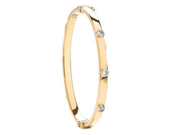 9ct Yellow Gold Studded Cubic Zirconia Hinged Baby Bangle Hallmarked - Real 9K Gold