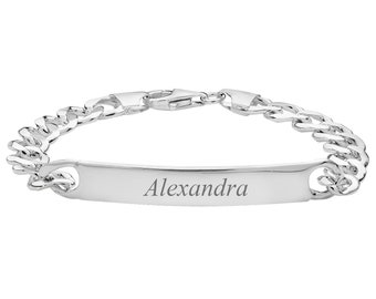 """Ladies 925 Sterling Silver 7"""" Open Curb Chain ID 7mm Bracelet 13g - Personalised Engraved Name"""