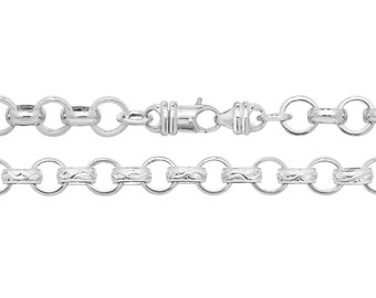 "Gents 8"" Solid 925 Sterling Silver Round Link 5mm Belcher Chain Bracelet"