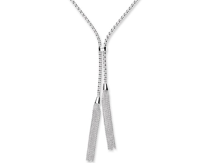 """Sterling Silver 18"""" Popcorn Mesh Necklace With 2"""" Chain Tassels Hallmarked"""