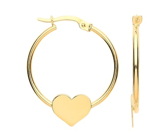 9ct Yellow Gold 2.2cm Diameter Hoop Earrings With Heart Disc - Real 9K Gold