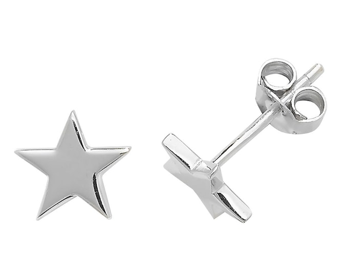 925 Sterling Silver 6mm Plain Polished Star Stud Earrings