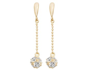 9ct Yellow Gold Crystal Ball 2.5cm Chain Drop Earrings