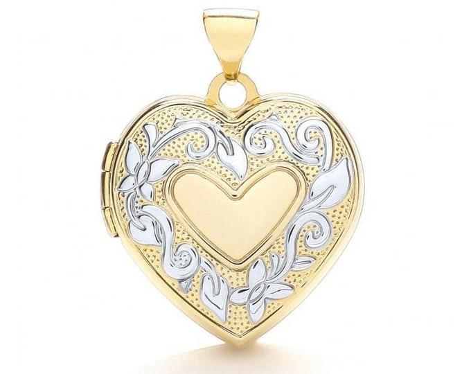 Floral Wreath 9ct 2 Colour Gold Heart Shaped 4 Photo Family Locket