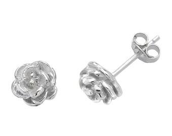 925 Sterling Silver 6mm Rose Flower Stud Earrings