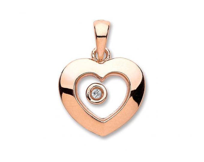 9ct Rose Gold Floating Solitaire Diamond Heart Shaped Pendant