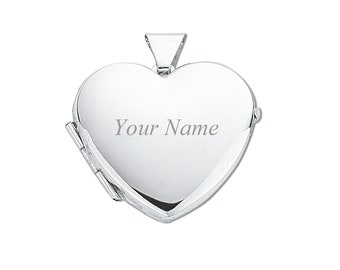 Personalised Engraved Small 925 Sterling Silver 1.5cm Plain 2 Photo Heart Locket