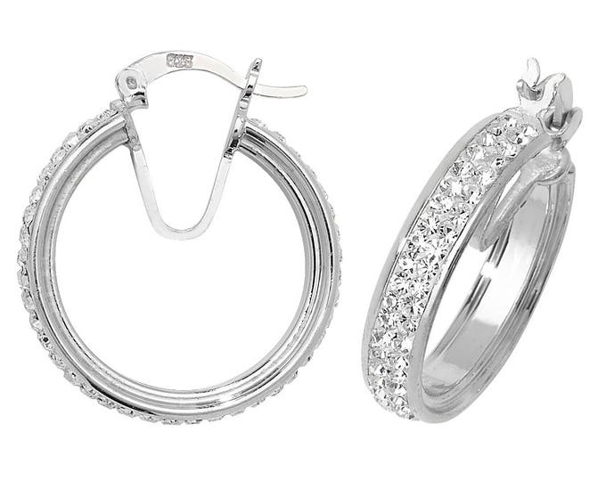Sterling Silver Two Row Diamante Crystal Pave Set Hoop Earrings 20mm 25mm 35mm 40mm