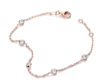 "Sterling Silver 5 Cz by the Yard 7"" Chain Bracelet Rose-Gold-Silver"