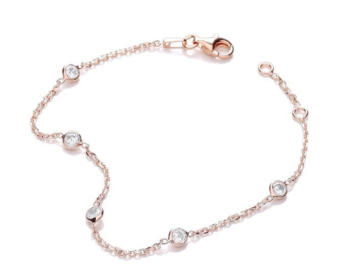 """Sterling Silver 5 Cz by the Yard 7"""" Chain Bracelet Rose-Gold-Silver"""