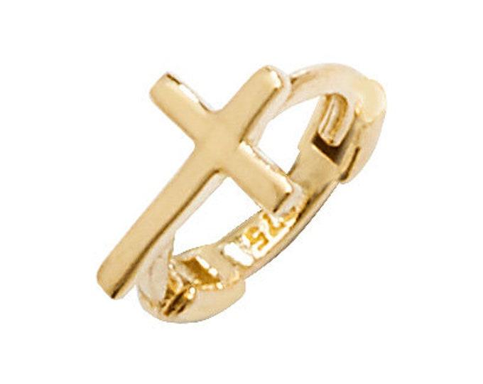 Cross Design 9ct Yellow Gold 7mm Diameter Cartilage Single Hoop Earring