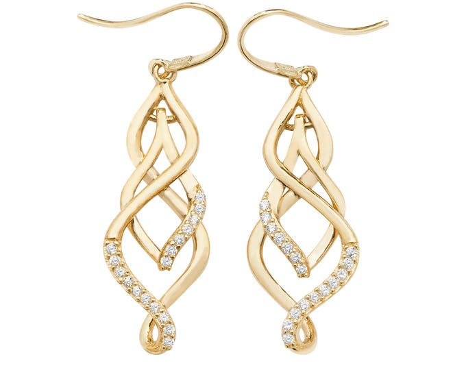 9ct Yellow Gold Cz Ornate Twisted Teardrop Hook Earrings