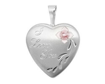 925 Sterling Silver I LOVE YOU Engraved Heart Shaped 2 Photo Flower Locket 1.5x1.5cm