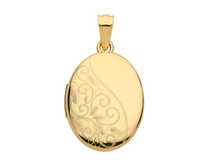 9ct Yellow Gold 19x15mm Oval Shaped Half Engraved 2 Photo Locket Hallmarked