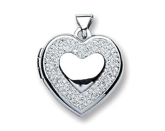 Small 925 Sterling Silver Heart Of Hearts Shaped Locket With Pave Set Crystal Surround