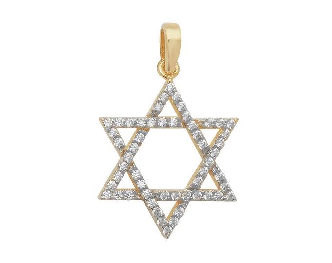 9ct Yellow Gold Claw Set Cz Star of David Pendant 20x15mm Hallmarked