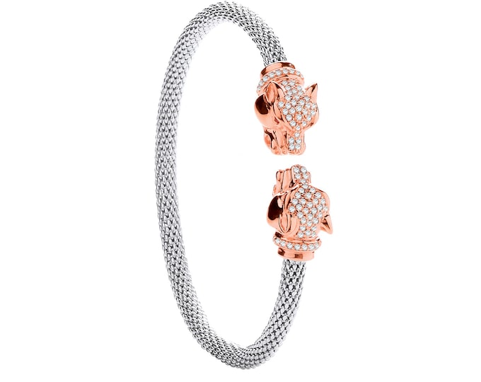 Rose Gold & Cz Black Panther Head Sterling Silver Popcorn Torque Bangle - LAST ONE!