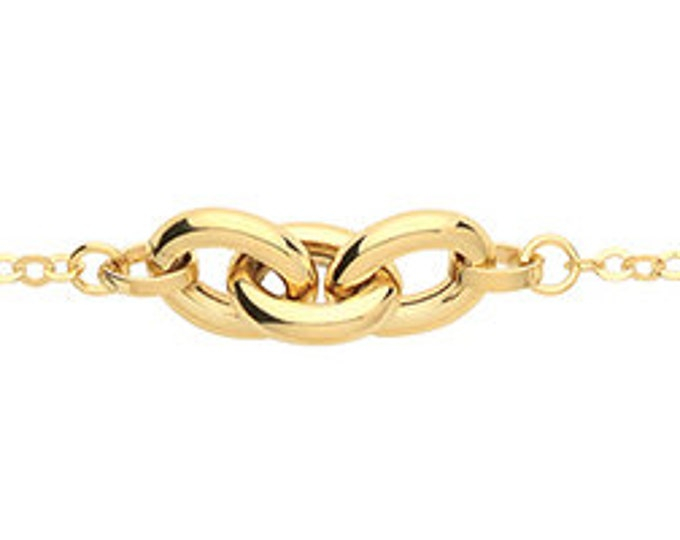 """9ct Yellow Gold Three Oval Links 7.5"""" Rolo Chain Bracelet Hallmarked"""