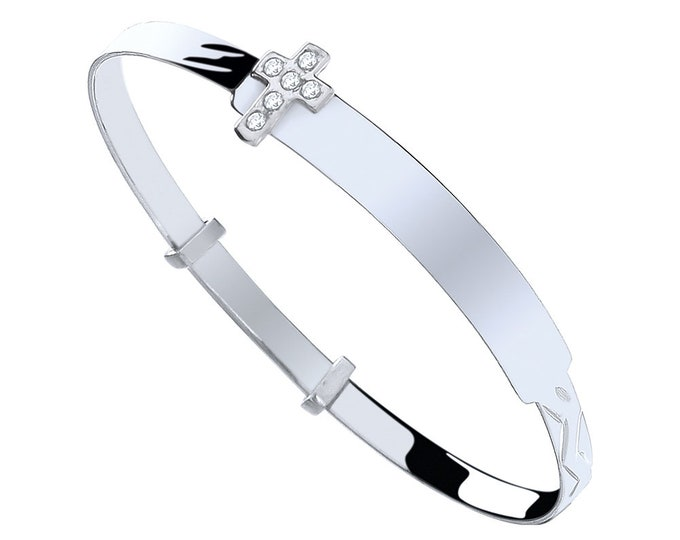 925 Sterling Silver Cz Cross Expandable Baby Identity Bangle