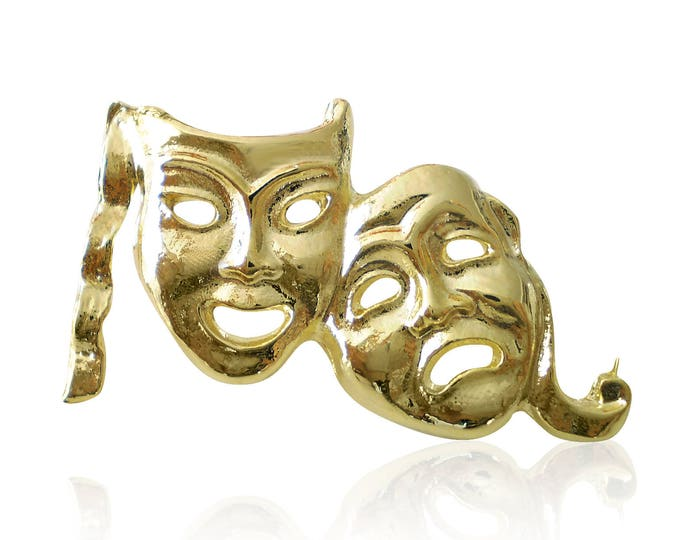 Gold Plated Comedy Tragedy Theatre Mask Lapel Pin Badge Gift Boxed