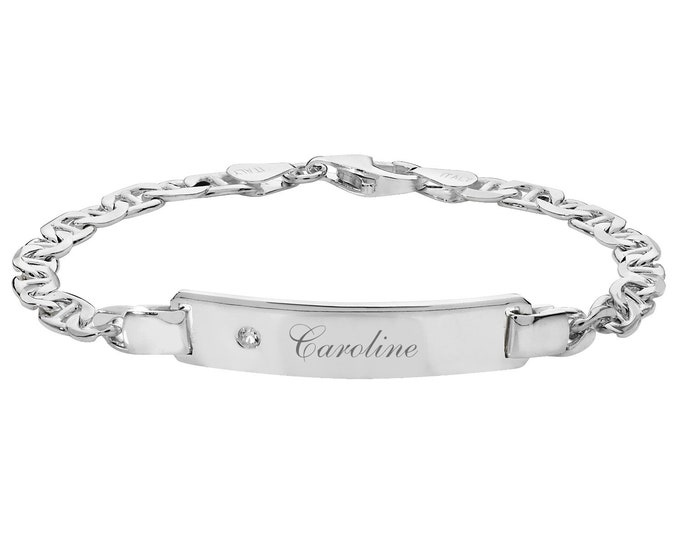 """Ladies Cz 925 Sterling Silver 7"""" Anchor Chain ID 4mm Bracelet - Personalised Engraved Name"""