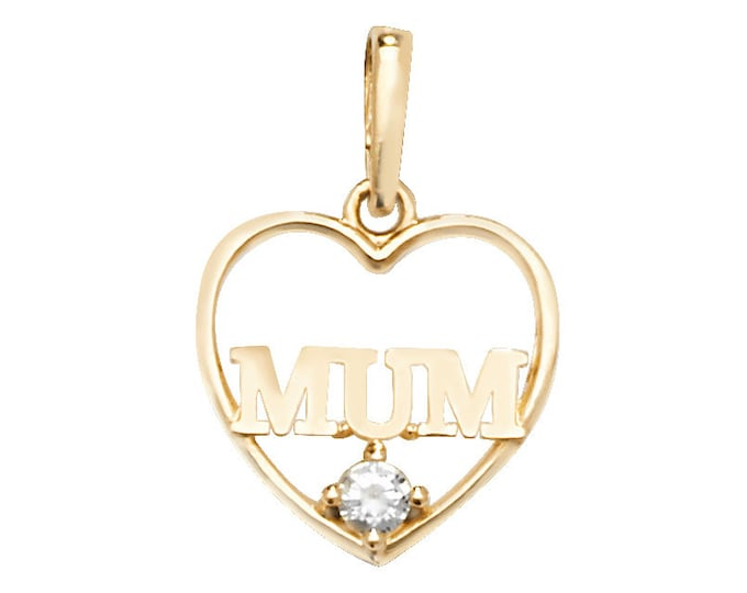 Small 10mm Heart Shaped Cz MUM Pendant 9ct Yellow Gold