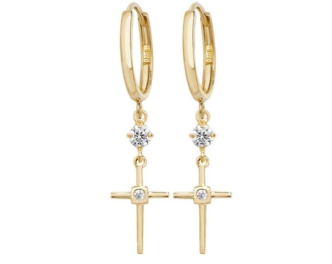 9ct Yellow Gold Hinged Hoop Cz Cross 3cm Drop Earrings Hallmarked