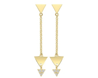 9ct Yellow Gold 2.5cm Three Triangles Cz Chain Drop Earrings - Real 9K Gold