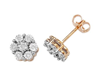 9ct Yellow Gold 0.08ct Diamond Cluster Illusion 6mm Stud Earrings - Real 9K Gold