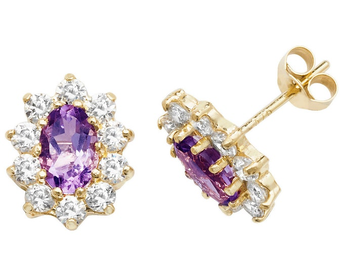 Purple Amethyst & Cz Oval Cluster Stud Earrings 9ct Yellow Gold Hallmarked