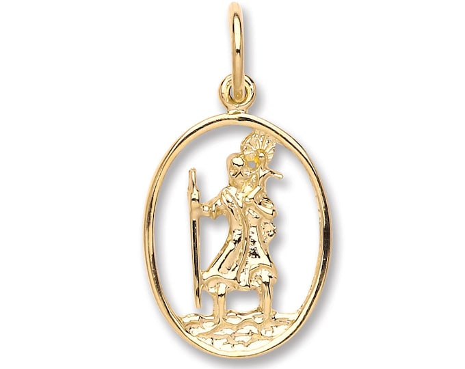 Gold necklaces pendants jewellery quarter store 9ct gold cut out oval st christopher medallion charm pendant 15x12mm aloadofball Images