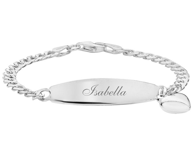 """Personalised 925 Sterling Silver Baby 6"""" ID Heart Charm Bracelet - Engraved Name"""
