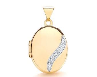 9ct Gold Single Single Diamond Small Oval 2 Photo Wave Locket 15x12mm - Real 9K Gold