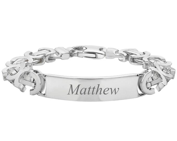 "Men's 925 Sterling Silver 8"" ID Byzantine 10mm Chain Bracelet 51g - Engraved Name"