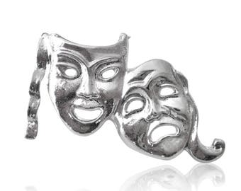 Silver Plated Comedy Tragedy Theatre Mask Lapel Pin Badge Gift Boxed