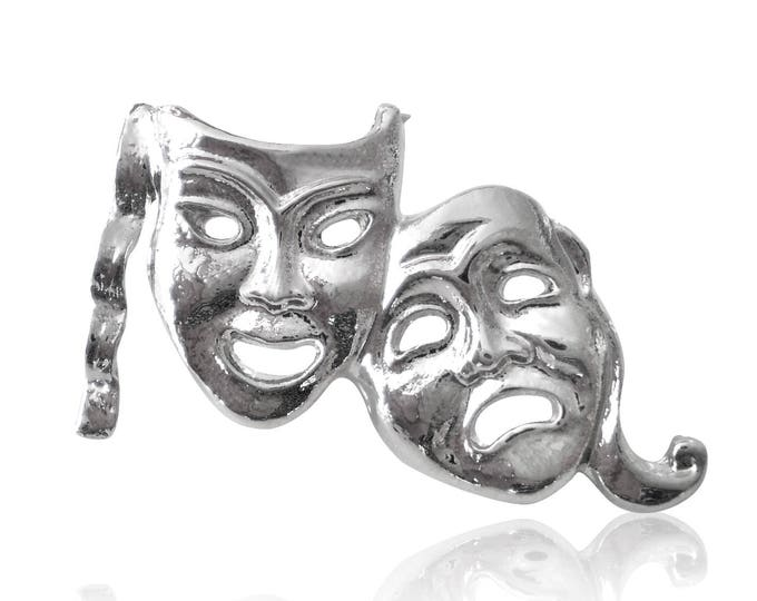 Pack 10 x Comedy Tragedy Theatre Mask Lapel Pin Badges Silver Bronze Gold