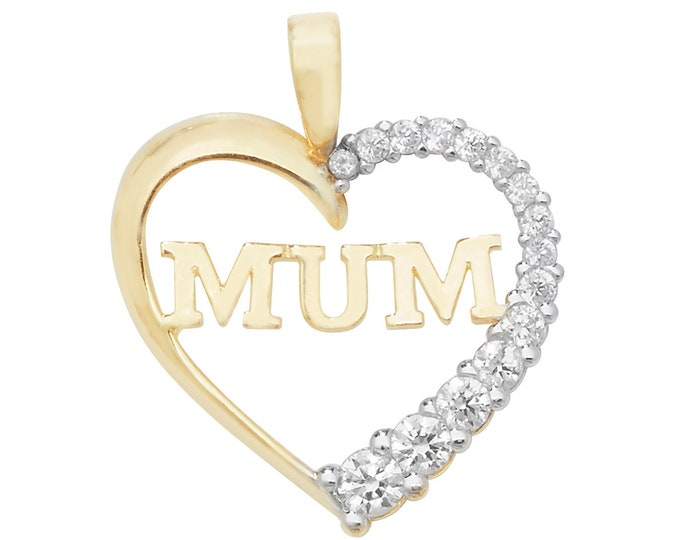 9ct Yellow Gold MUM Love Heart Pendant Half Pave Set With Cz Stones Hallmarked