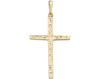 Solid 9K Gold Medieval Embossed Scroll Pattern 3.5cm Cross Pendant Hallmarked- Real 9K Gold