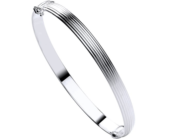 9ct White Gold Hollow Contemporary 5mm Ribbed Hinged Bangle Hallmarked - Real 9K Gold